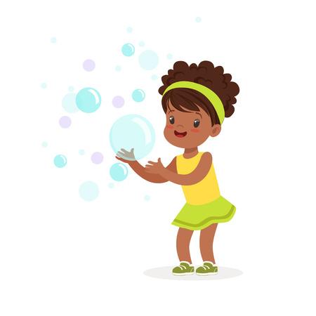 Linda niña sonriente jugando burbujas vector ilustración Foto de archivo - 82357273