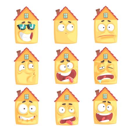Cute Cartoon verwandelt Haus mit mit vielen Ausdrücken Satz von Vektor Illustrationen Standard-Bild - 82450031