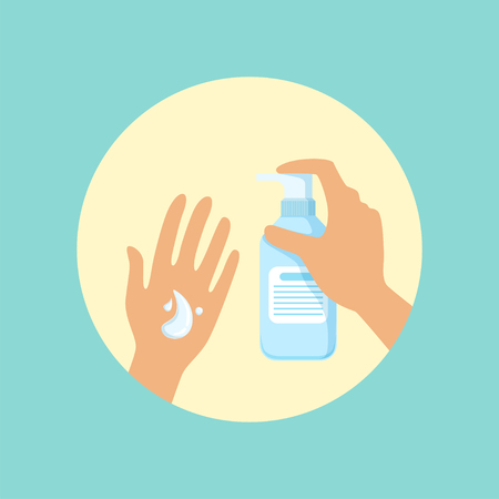 Washing hands with liquid soap round vector Illustration Çizim