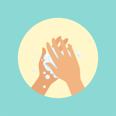 Washing hands with soap palm to palm round vector Illustration
