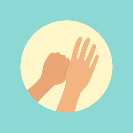Washing hands focus on thumbs finger round vector Illustration