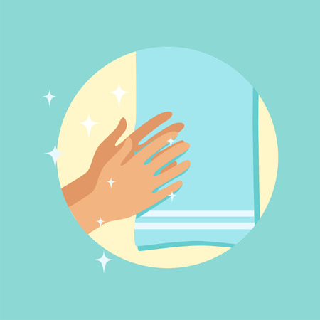 Drying hands with a towel round vector Illustration