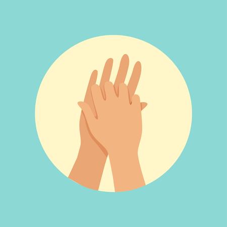 Washing hands between fingers round vector Illustration