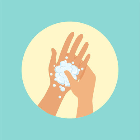 Washing hands, focus on palm round vector Illustration