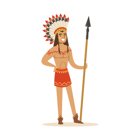 Native american indian in traditional indian clothing with a spear vector Illustration isolated on a white background Illustration