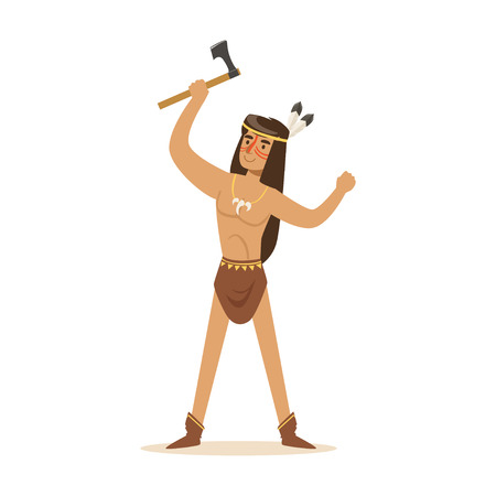 Native american indian in loincloth standing with tomahawk vector Illustration isolated on a white background