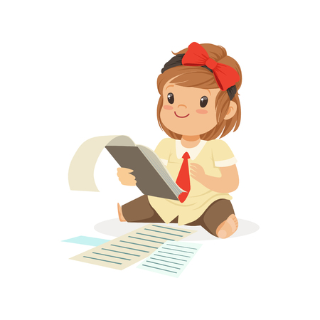 Cute little girl businesswoman working with documents vector Illustration