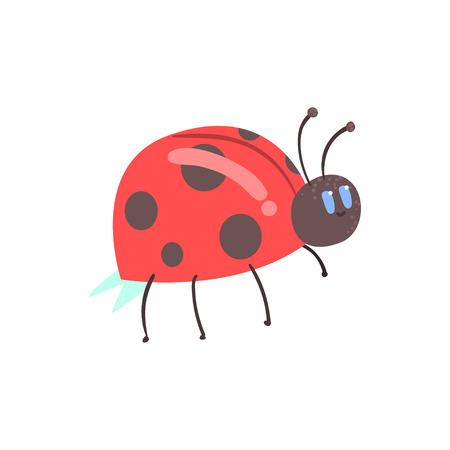 かわいい漫画赤いてんとう虫の文字ベクトル図  イラスト・ベクター素材