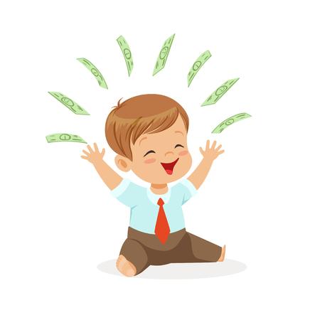 행복한 소년 실업가, 그의 머리, 아이 저축 및 금융, 어린 시절의 풍요 로움 이상의 비행 돈을 가지고 노는 벡터 일러스트 레이션