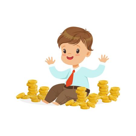 귀여운 작은 소년 사업가 골드 동전, 아이 저축 및 금융, 어린 시절의 풍요로 움의 스택 둘러싸인 앉아 벡터 일러스트