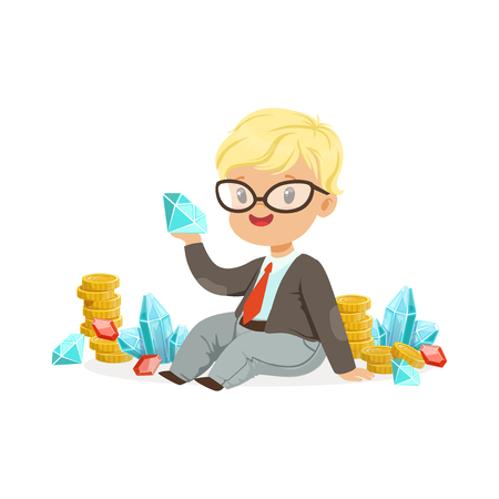 Cute little boy businessman sitting surrounded by stacks of gold coins, diamonds and rubies, kids savings and finance, richness of childhood vector Illustration