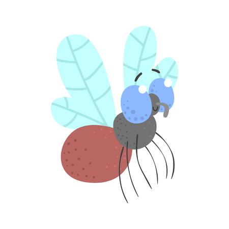 かわいい漫画飛ぶ昆虫の文字ベクトル図  イラスト・ベクター素材