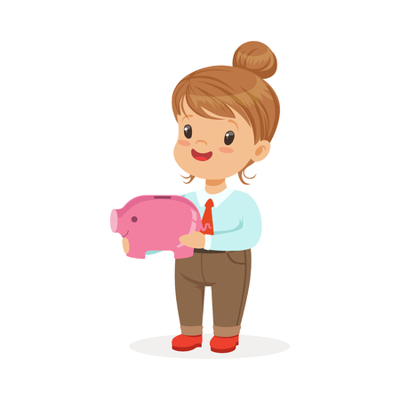 Cute happy little girl businesswoman holding a piggy bank, kids savings and finance vector Illustration