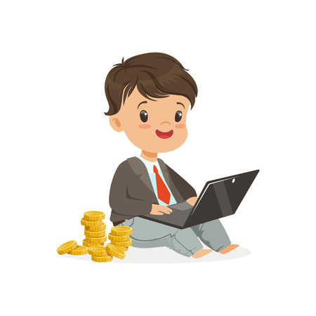 Cute boy businessman working on his laptop and earning money, kids savings and finance vector Illustration Ilustrace