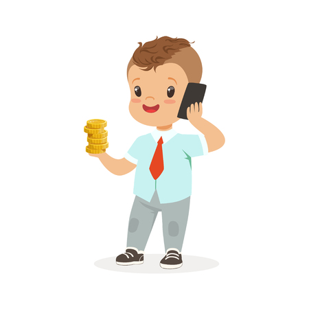 귀여운 소년 사업가 스마트 폰 얘기 하 고 그의 손에, 아이 저축 및 금융, 유년기의 풍요로 움의 스택을 들고 벡터 일러스트 일러스트