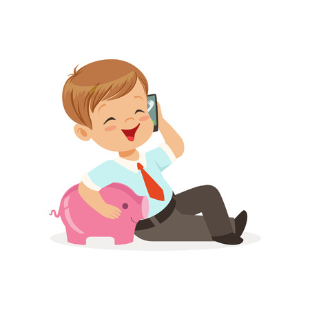 Cute little boy businessman talking on smartphone and hugging his piggy bank, kids savings and finance vector Illustration