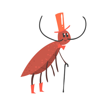 Cute cartoon cricket character wearing a hat and holding cane vector Illustration isolated on a white background