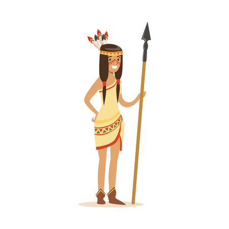 Native american indian girl in traditional indian clothing standing with spear vector Illustration