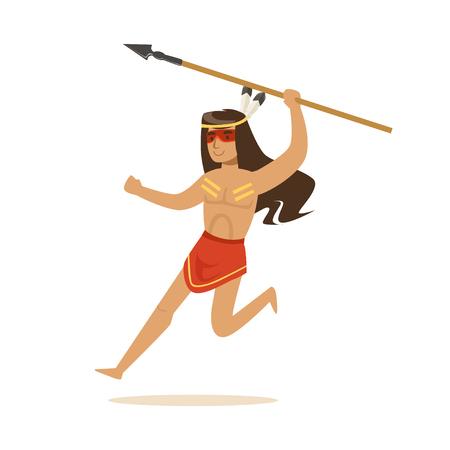 Indio americano nativo en taparrabos corriendo con vector de lanza Foto de archivo - 82441978