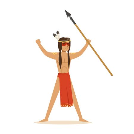 Inheemse Amerikaanse Indiër in lendendoek die zich met een opgeheven spear vectorillustratie bevinden Stock Illustratie