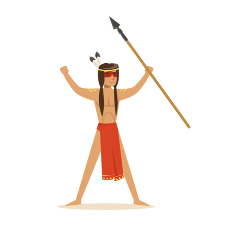 Native american indian in loincloth standing with a raised spear vector Illustration