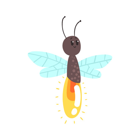 Cute cartoon firefly character vector Illustration isolated on a white background