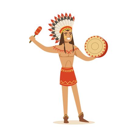 Gebürtiger Indianer in traditionellem im Lendenschurz, der Tamburinvektor Illustration spielt Standard-Bild - 82441980