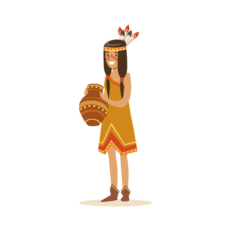 Native american indian girl in traditional indian dress holding clay jug vector Illustration