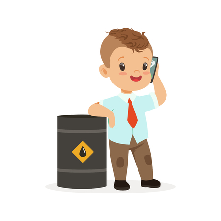 Cute little boy businessman talking on smartphone standing next to a barrel of oil, vector Illustration isolated on a white background Ilustracja