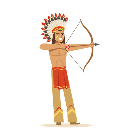 Native american indian in traditional indian clothing shooting a bow and arrow vector Illustration