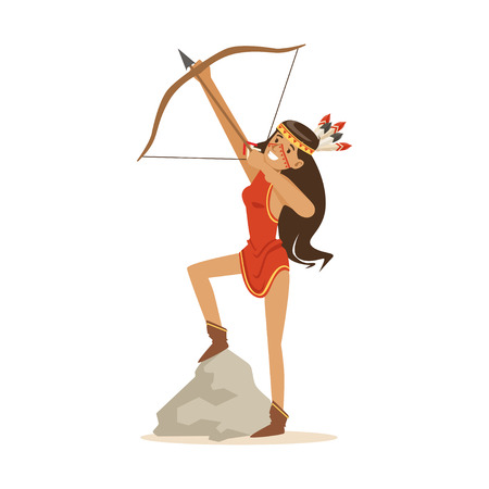 Native american indian girl in traditional red indian dress shooting a bow and arrow vector Illustration Illustration