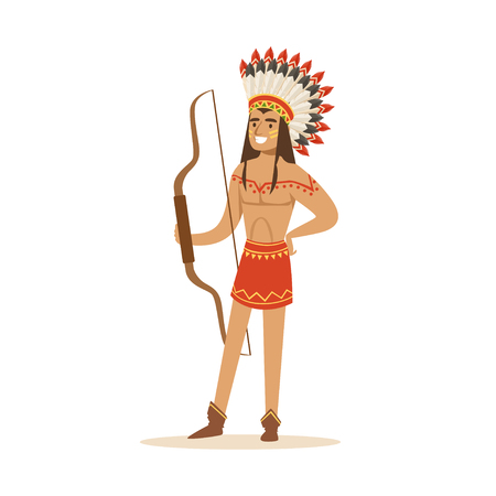 Native american indian in traditional loincloth and headdress standing with a bow vector Illustration Illustration