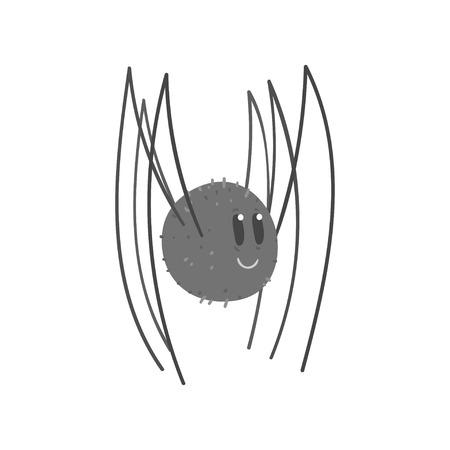 Cute cartoon black spider character vector Illustration Illustration