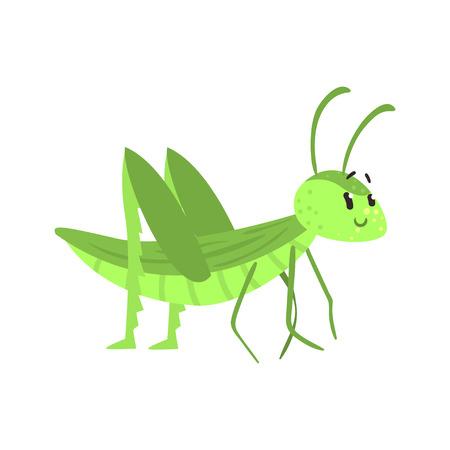 Cute cartoon green grasshopper character vector Illustration
