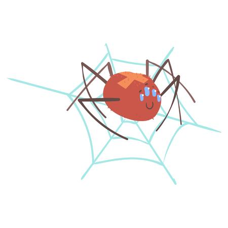 Leuke cartoon spin karakter in een web vector illustratie