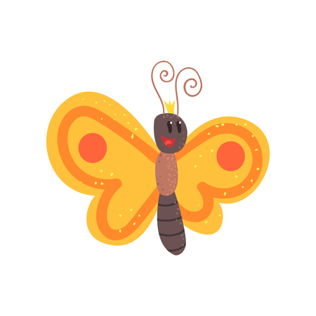 Cute cartoon orange butterfly character vector Illustration isolated on a white background
