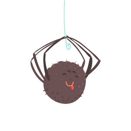 Cute cartoon opknoping spider karakter vector illustratie geïsoleerd op een witte achtergrond Stock Illustratie