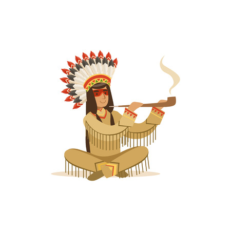 peace pipe: Native american indian in traditional indian clothing sitting in lotus position and smoking pipe vector Illustration isolated on a white background Illustration