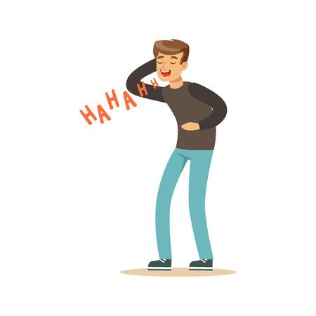 시끄러운 다채로운 문자 벡터 일러스트 웃고 회색 pullover에 행복 한 젊은 남자 일러스트