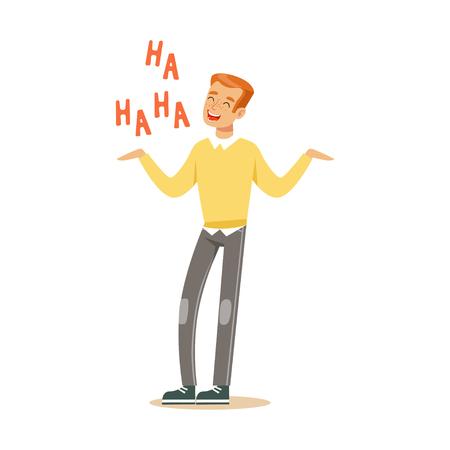 Gelukkige jonge roodharigemens in een gele pullover die uit luide kleurrijke karakter vectorillustratie lachen Vector Illustratie