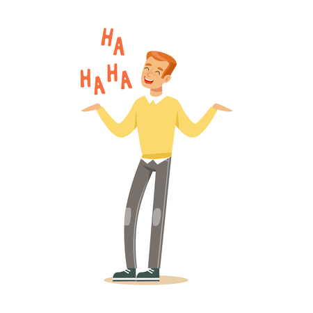 Happy young redhead man in an yellow pullover laughing out loud colorful character vector Illustration Illustration