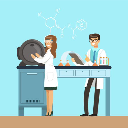 Scientists testing chemical elements, interior of science laboratory, vector Illustration in flat design