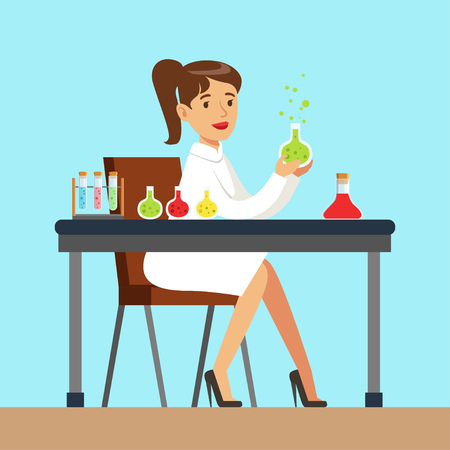 Female scientist is conducting research in a lab, interior of science laboratory, vector Illustration