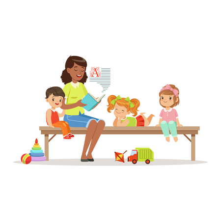 Teacher reading a book to kids while sitting on a bench, children enjoy listening, kids education and upbringing in preschool or kindergarten, colorful characters Illustration