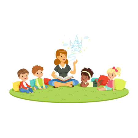 Teacher reading a fairytale to kids while sitiing on a carpet, childrens education and upbringing in school, preschool or kindergarten, colorful characters