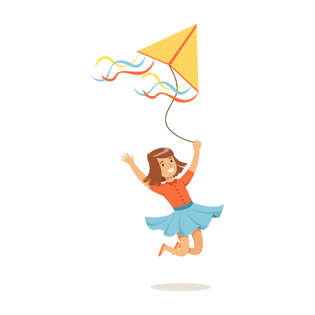 Happy girl running with her flying kite, kids outdoor activity colorful character vector Illustration Ilustração
