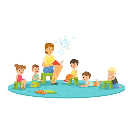 Leraar leest een sprookje voor kinderen, kinderen onderwijs en opvoeding op school, voorschoolse of kleuterschool, kleurrijke personages Stock Illustratie