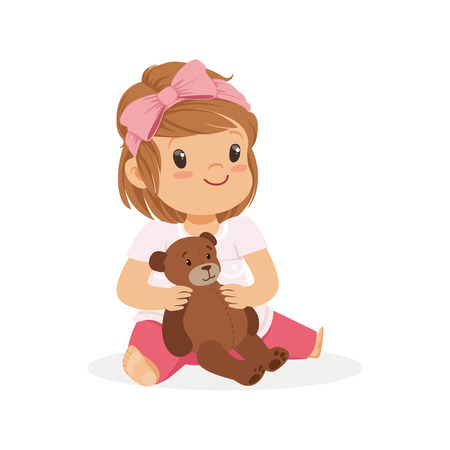 Adorable little girl playing with teddy bear, colorful character vector Illustration