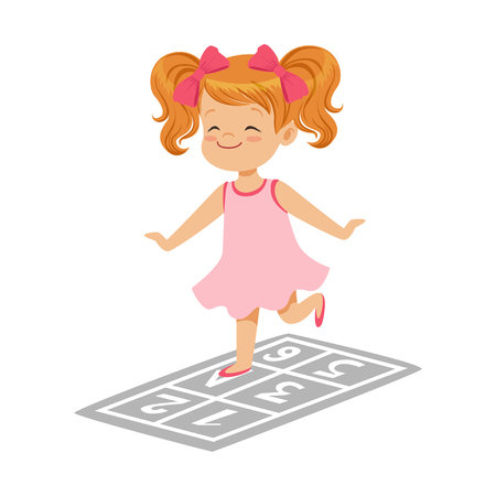 Beautiful little girl in a pink dress playing hopscotch, colorful character vector Illustration