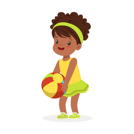 Sweet black little girl in an yellow dress playing with a ball, colorful character vector Illustration